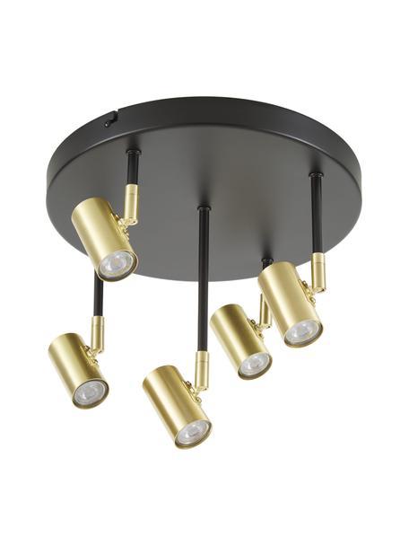 Kleine plafondspot Tony in zwart-goudkleur, Baldakijn: gepoedercoat metaal, Baldakijn: mat zwart. Fittingen: messingkleurig, Ø 30 x H 26 cm