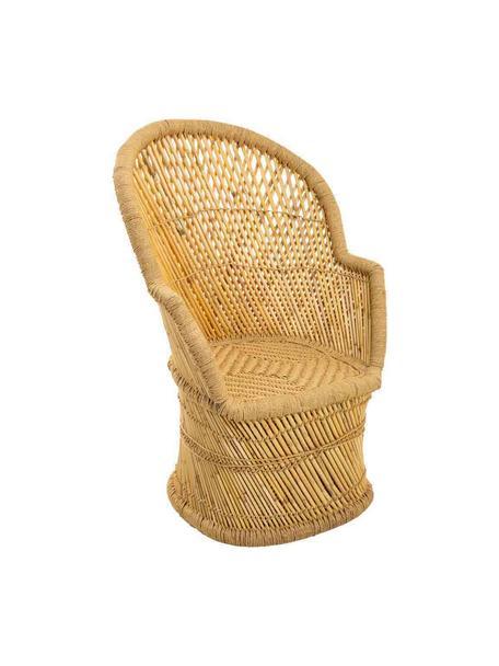 Zewnętrzny fotel wypoczynkowy z drewna bambusowego Ariadna, Drewno bambusowe, lina, Brązowy, S 50 x G 69 cm