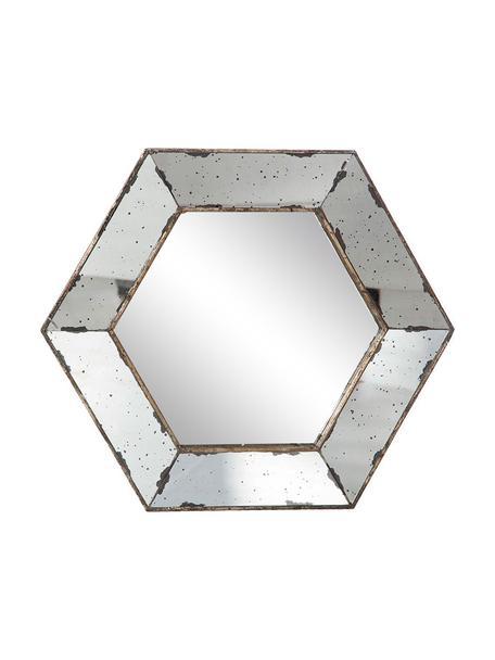 Espejo de pared de metal Hexagonal, Espejo: cristal, Blanco, latón, An 53 x Al 53 cm