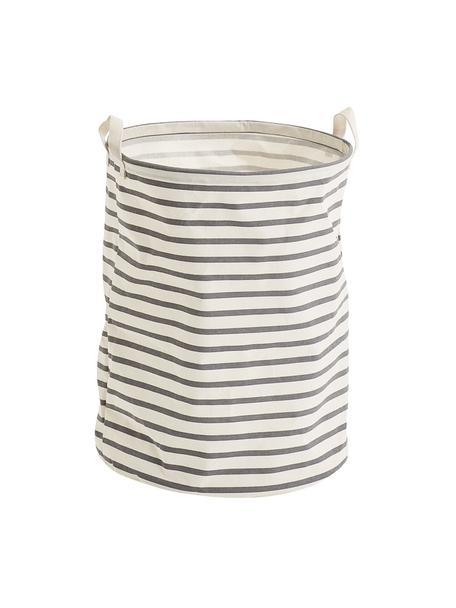 Wasmand Stripes, Canvas, Grijs, crèmewit, Ø 38 x H 48 cm