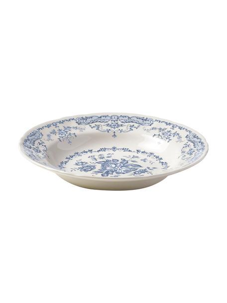Soepborden Rose met bloemmotief in wit/blauw, 2 stuks, Keramiek, Wit, blauw, Ø 23 x H 4 cm