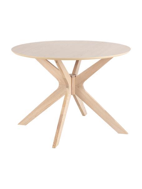 Tavolo rotondo con rivestimento in legno di quercia Duncan, Piano d'appoggio: pannello di fibra a media, Gambe: legno di quercia massello, Legno di quercia, Ø 105 x Alt. 75 cm