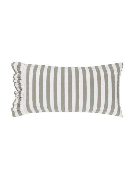Gestreifte Kissenbezüge Averni aus gewaschener Baumwolle mit Rüschen, 2 Stück, Webart: Perkal Fadendichte 200 TC, Beige, Weiß, 40 x 80 cm