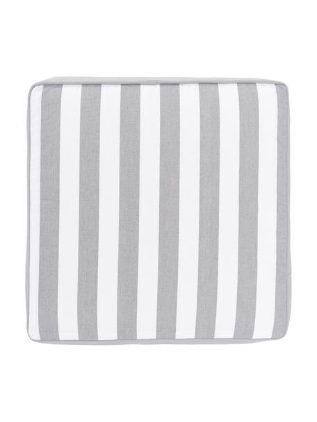 Gestreept stoelkussen Timon in lichtgrijs/wit, Grijs, 40 x 40 cm