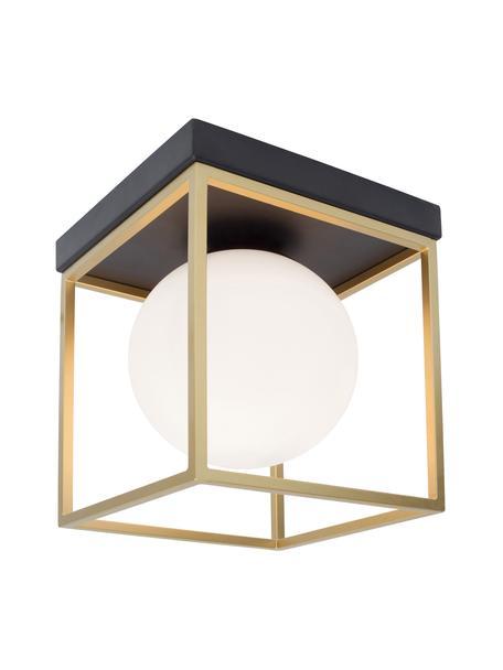 Kleine plafondlamp Juliet van glas, Lampenkap: opaalglas, Baldakijn: gelakt metaal, Wit, messingkleurig, 19 x 20 cm