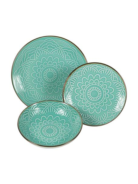 Set piatti per 6 persone Baku (18 pezzi), Ceramica, Turchese, Set in varie misure