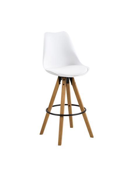 Barstoelen Dima, 2 stuks, Zitvlak: polyurethaan, Bekleding: polyester, Poten: geolied rubberhout, Zitvlak: wit. Poten: rubberhoutkleurig. Voetsteun: zwart, 49 x 112 cm