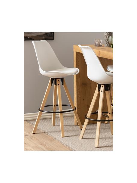 Barstühle Dima in Weiß, 2 Stück, Sitzschale: Polyurethan, Bezug: Polyester, Beine: Gummibaumholz, geölt, Sitzschale: Weiß Beine: Gummibaumholz Fußstütze: Schwarz, 49 x 112 cm