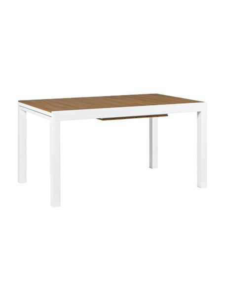 Rozsuwany stół ogrodowy Elias, Blat: tworzywo sztuczne, Nogi: aluminium, malowane prosz, Biały, drewno naturalne, S 140 x G 90 cm