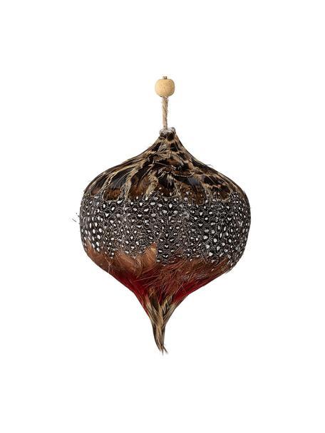 Kerstboomhanger Kemuel, Veren, Bruin, rood, wit, Ø 9 cm