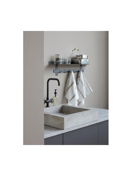 Baumwoll-Geschirrtücher Halida mit Streifen und Karomuster, 2 Stück, 100% Baumwolle, Weiß, Olivgrün, 55 x 75 cm