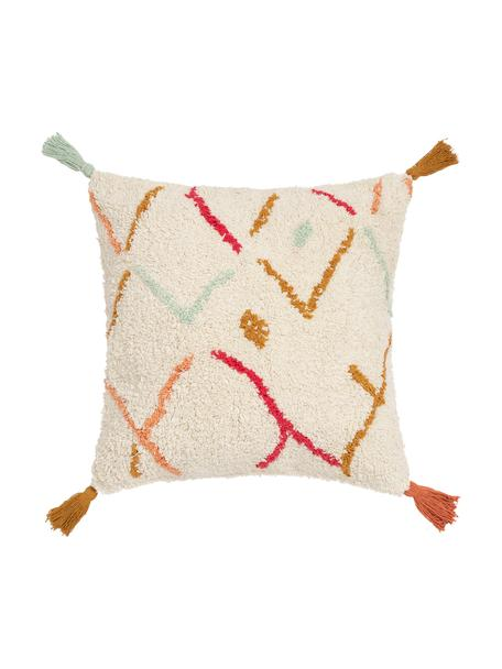 Flauschige Bohokissenhülle Asila mit bunten Quasten, 100% Baumwolle, Cremefarben, Mehrfarbig, 45 x 45 cm