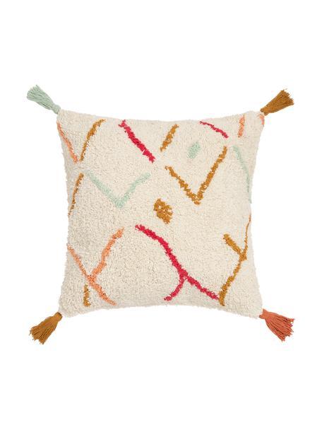 Pluizige boho kussenhoes Asila met gekleurde franjes, 100% katoen, Crèmekleurig, multicolour, 45 x 45 cm