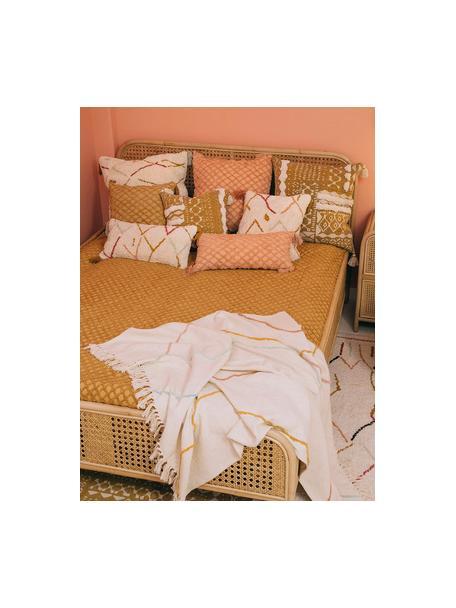 Poszewka na poduszkę z chwostami w stylu boho Asila, 100% bawełna, Odcienie kremowego, wielobarwny, S 45 x D 45 cm
