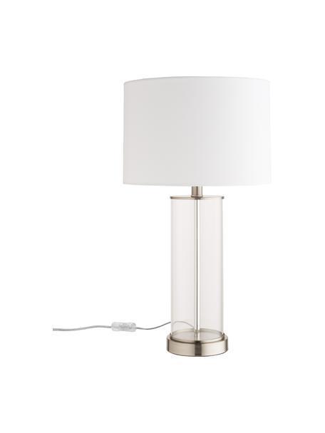 Lampada da tavolo in vetro e lino Abigail, Paralume: lino, Base della lampada: vetro, Nichel, Ø 32 x Alt. 61 cm