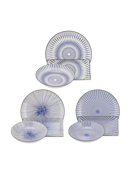 Geschirr-Set Skiathos mit feinem Muster in Blau/Weiß, 6 Personen (18-tlg.), Steingut, Blautöne, Gebrochenes Weiß, Ränder: Anthrazit, Sondergrößen