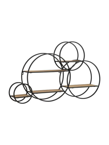 Półka ścienna z drewna i metalu Circles, Stelaż: metal powlekany, Czarny, brązowy, S 84 x W 54 cm