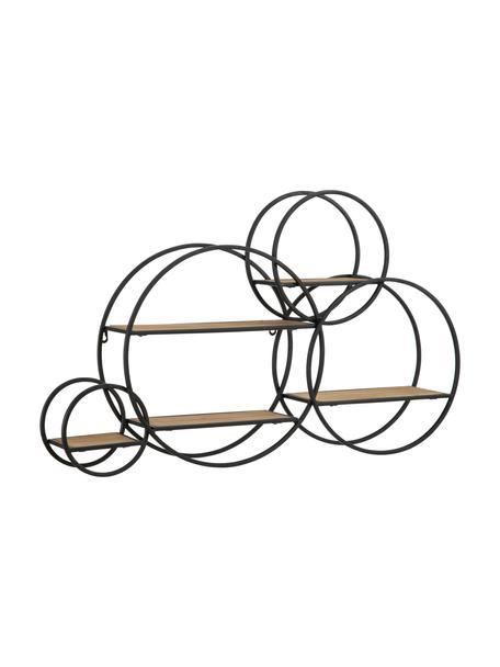 Wandrek Circles van hout en metaal, Frame: gecoat metaal, Zwart, bruin, 84 x 54 cm