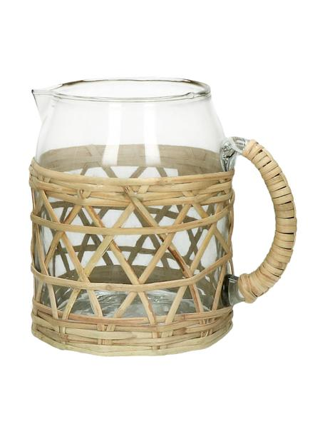 Karaffe Brindisi aus recyceltem Glas und mit Bambus Verzierung, Transparent, Beige, H 16 cm