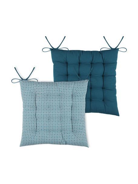Dubbelzijdig zitkussen Galette in blauw/wit, 100% katoen, Blauw, wit, 40 x 40 cm