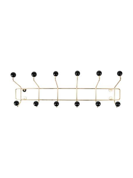 XL Metalen kapstok Saturnus, Frame: gelakt metaal, Frame: goudkleurig. Haken: zwart, 54 x 15 cm