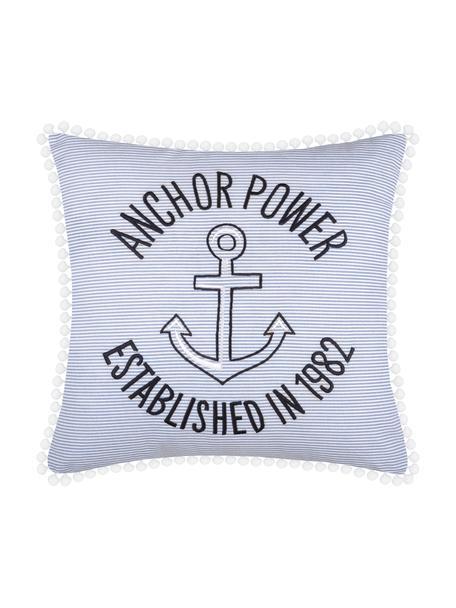 Maritimes Kissen Guernezey Anchor mit Pompoms, mit Inlett, 100% Baumwolle, Weiß, Blau, 45 x 45 cm