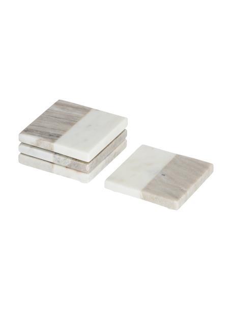 Eckige Marmor-Untersetzer Danelle in Weiß/Beige, 4 Stück, Marmor, Weiß, marmoriert, Beige, marmoriert, B 10 x T 10 cm