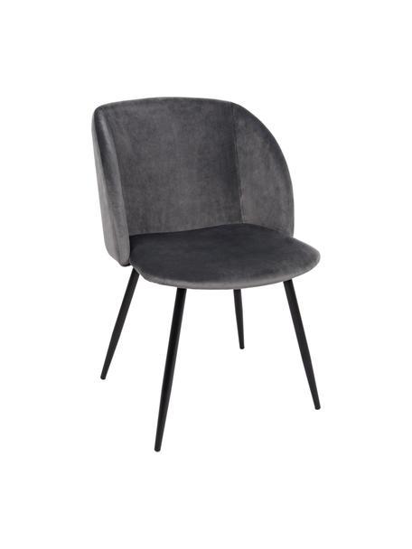 Sedia imbottita in velluto grigio Crown, Seduta: velluto di poliestere, Struttura: compensato, Gambe: metallo verniciato a polv, Grigio, Larg. 60 x Alt. 53 cm