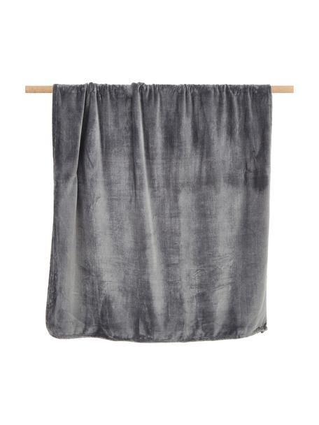 Puszysty koc Doudou, 100% poliester, Antracytowy, S 130 x D 160 cm