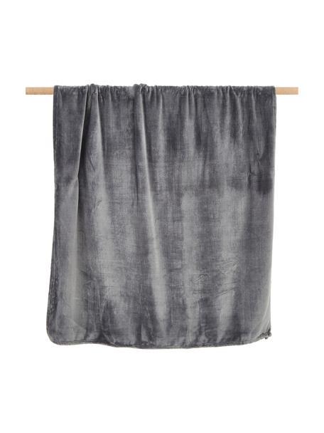 Zachte plaid Doudou in antraciet, 100% polyester, Antraciet, 130 x 160 cm