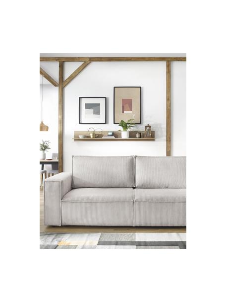 Sofa rozkładana ze sztruksu z miejscem do przechowywania Nihad (3-osobowa), Tapicerka: sztruks poliestrowy, Nogi: tworzywo sztuczne, Beżowy, S 245 x G 102 cm