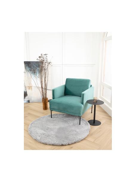 Pluizig rond hoogpolig vloerkleed Leighton in grijs, Bovenzijde: 100% polyester (microveze, Grijs, Ø 120 cm (maat S)