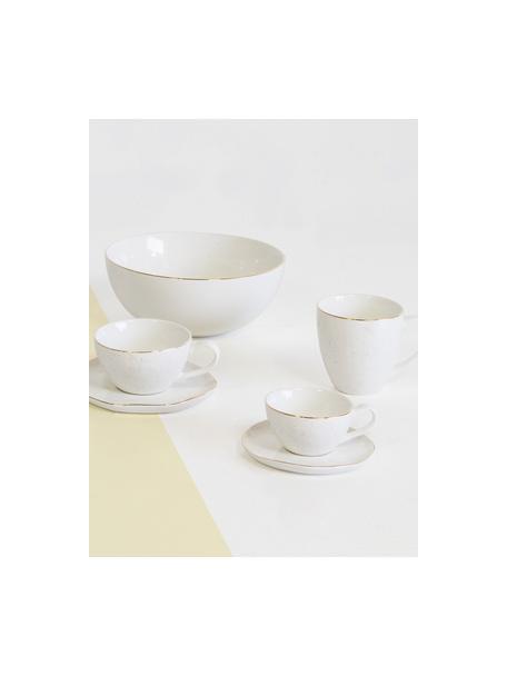 Ręcznie wykonany kubek do kawy Bella, 2 szt., Porcelana, Kremowobiały, Ø 9 x W 9 cm