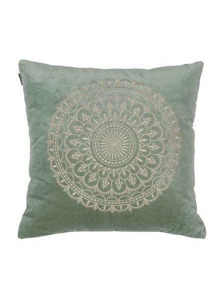 Haftowana poduszka z aksamitu z wypełnieniem Preston, Miętowy, odcienie kremowego, S 45 x D 45 cm