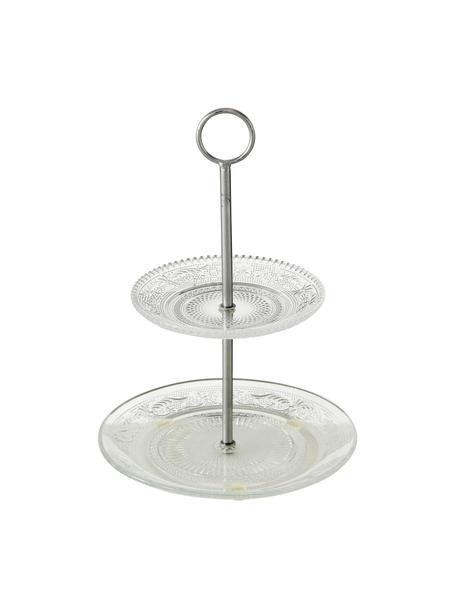 Alzatina in vetro con struttura in argento Relief, Ripiani: vetro, Asta: metallo, Trasparente, Ø 20 x Alt. 28 cm