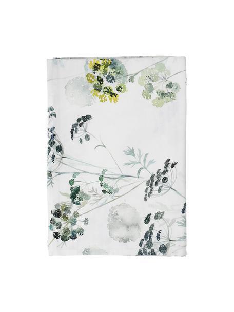 Katoenen tafelkleed Herbier met bloemmotief, Katoen, Wit, groen, Voor 4 - 6 personen (B 160 x L 160 cm)