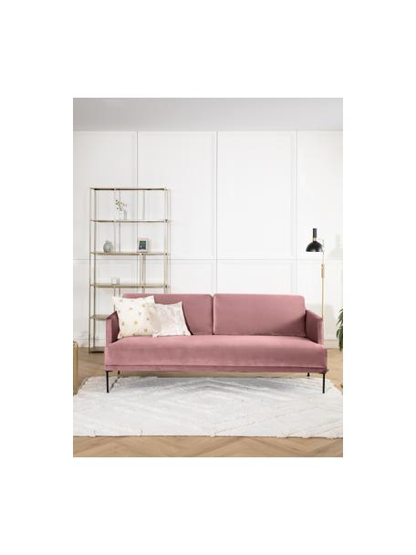 Samt-Sofa Fluente (3-Sitzer) in Rosa mit Metall-Füssen, Bezug: Samt (Hochwertiger Polyes, Gestell: Massives Kiefernholz, Samt Rosa, B 196 x T 85 cm