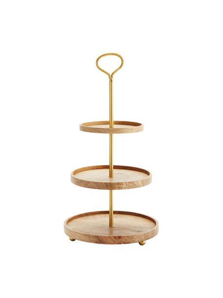 Etagere Alina aus Mangoholz mit goldenem Gestell, Gestell: Metall, beschichtet, Goldfarben, Mangoholz, Ø 30 cm