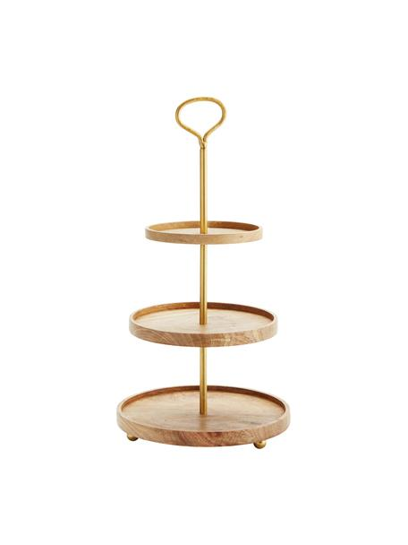 Etażerka z drewna mangowego Alina, Stelaż: metal powlekany, Odcienie złotego, drewno mangowe, Ø 30 cm x W 59 cm