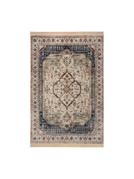 Viscose vloerkleed Jasmine in vintage stijl met franjes in beige/blauw, 60% viscose, 40% katoen, Beige, jeansblauw, multicolour, B 95 x L 140 cm (maat XS)