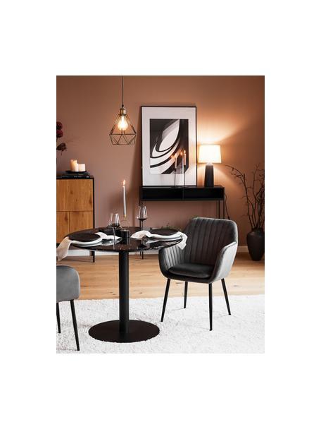 Krzesło z podłokietnikami z aksamitu i metalowymi nogami Emilia, Tapicerka: aksamit poliestrowy Dzięk, Nogi: metal lakierowany, Aksamit ciemny szary, czarny, S 57 x G 59 cm