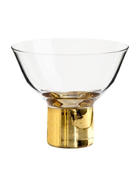 Cocktailgläser Club mit goldfarbenem Sockel, 2 Stück, Glas, mundgeblasen, Transparent, Goldfarben, Ø 10 x H 9 cm