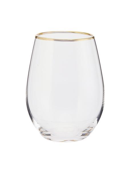 Wassergläser Chloe in Transparent mit Goldrand, 4 Stück, Glas, Transparent, Goldfarben, Ø 9 x H 12 cm