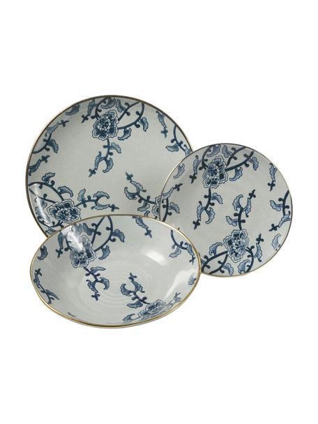 Vajilla Hamasei, 6 personas (18pzas.), Porcelana, Azul, blanco, Set de diferentes tamaños
