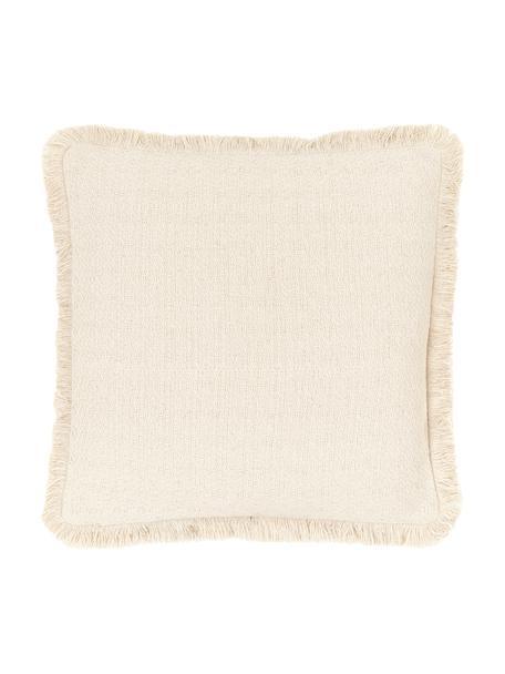 Kissenhülle Lorel in Beige mit dekorativen Fransen, 100% Baumwolle, Beige, 40 x 40 cm