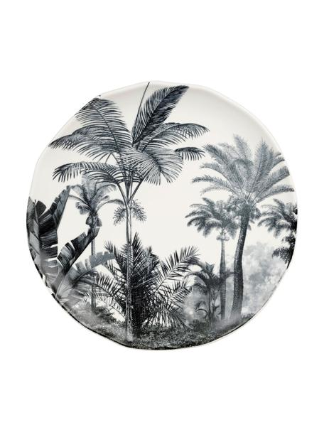 Dinerborden Papaye met palmmotief, 4 stuks, Porselein, Wit, zwart, Ø 28 cm