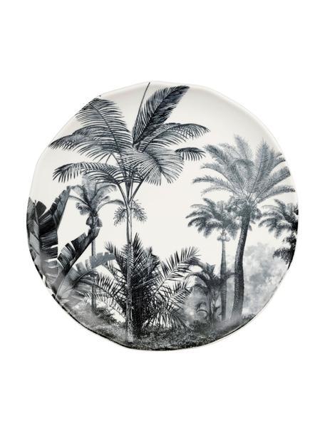 Speiseteller Papaye mit Palmenmotiven, 4 Stück, Porzellan, Weiss, Schwarz, Ø 28 cm