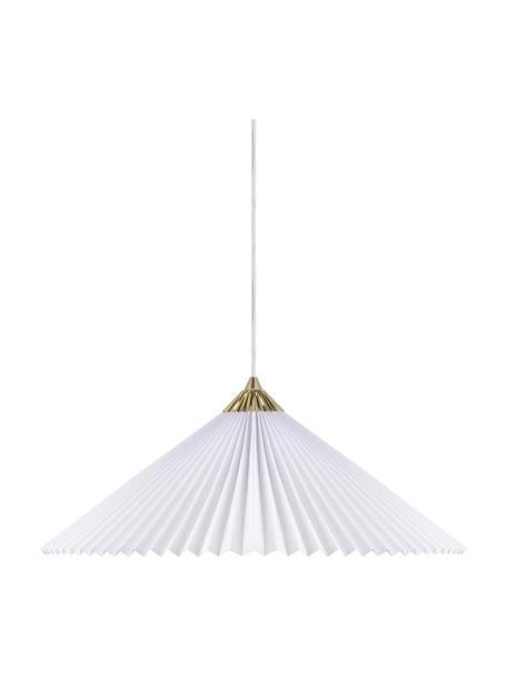 Lampada a sospensione retrò Matisse, Paralume: cotone, Baldacchino: materiale sintetico, Bianco, ottonato, Ø 60 x Alt. 18 cm