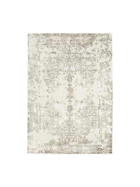 Alfombra de lana y viscosa Florentine, estilo vintage, 50%lana, 50%viscosa Las alfombras de lana se pueden aflojar durante las primeras semanas de uso, la pelusa se reduce con el uso diario, Beige, gris claro, An 140 x L 200 cm(Tamaño S)