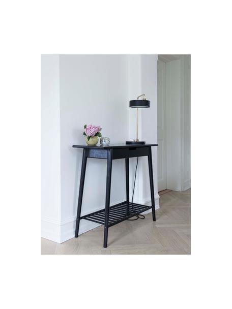 Consola de bambú Noble, con un cajón, Bambú pintado y carbonizado, Negro, An 90 x F 32 cm